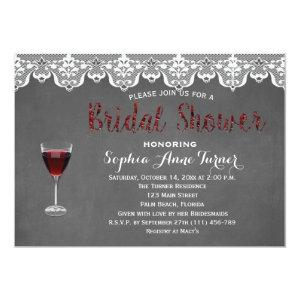 Rustic Lace Wine Tasting Bridal Shower Invitation starting at 2.66