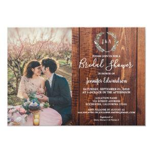 Rustic leaves on wood monogram photo Bridal Shower Invitation starting at 2.51