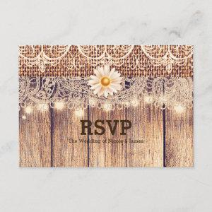 Rustic Lighted Mason Jars Daisies & Lace RSVP Card starting at 2.06