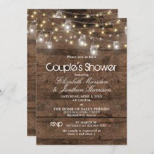 Rustic Mason Jar and String Lights Couple's Shower starting at 2.51