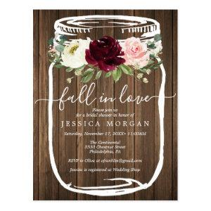Rustic Mason Jar Fall In Love Bridal Shower Invite starting at 1.10