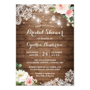 Rustic Mason Jar Lights Lace Floral Bridal Shower Invitation starting at 2.35