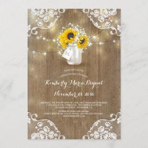 Rustic Mason Jar Sunflower Bridal Shower Invitation starting at 2.40