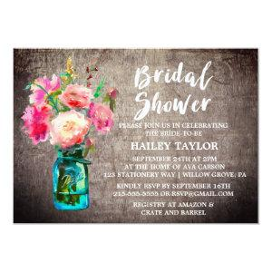 Rustic Mason Jar with Flower Bouquet Bridal Shower Invitation starting at 2.51