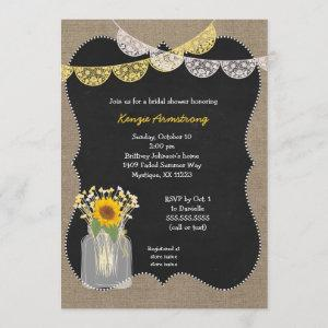 Rustic Mason Jar with sunflowers baby's breath Invitation starting at 2.51