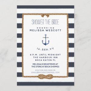 Rustic Navy Blue Nautical Knot Shower the Bride Invitation starting at 2.66