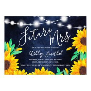 Rustic navy string lights sunflowers bridal shower invitation starting at 2.40