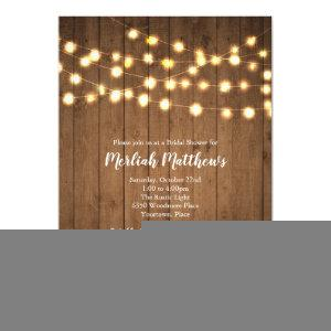 Rustic Party Lights Faux Wood Bridal Shower Invitation starting at 2.66