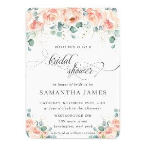 Rustic Peach Floral Roses Greenery Bridal Shower Invitation starting at 2.35