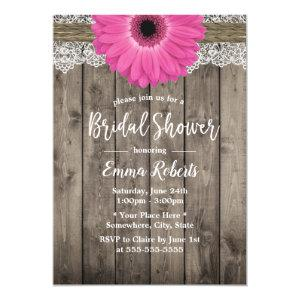 Rustic Pink Daisy Floral White Lace Bridal Shower Invitation starting at 2.40