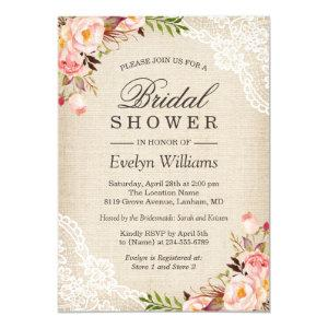 Rustic Pink Floral Ivory Burlap Lace Bridal Shower Invitation starting at 2.30