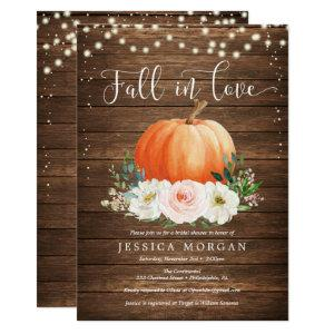 Rustic Pumpkin Fall in Love Bridal Shower Invites starting at 2.35