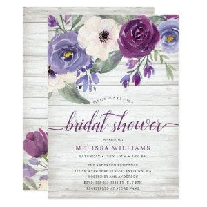 Rustic Purple Watercolor Floral Bridal Shower Invitation starting at 2.51
