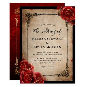 Rustic Red Rose Gold Black Vintage Elegant Wedding Invitation starting at 2.82