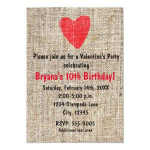 Rustic Red Stamped Heart Burlap Valentine Party Invitation starting at 2.56