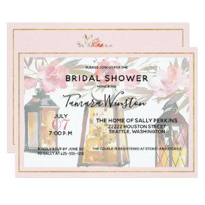 Rustic Romance Lanterns Rose Gold Bridal Shower Invitation starting at 2.51