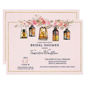 Rustic Romantic Lanterns Rose Gold Bridal Shower Invitation starting at 2.51