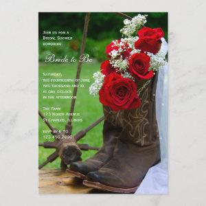 Rustic Roses Cowboy Boots Country Bridal Shower Invitation starting at 2.60