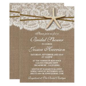 Rustic Starfish Beach Bridal Shower Invitations starting at 2.51