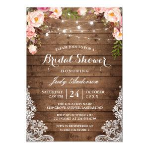 Rustic String Lights Lace Floral Bridal Shower Invitation starting at 2.45