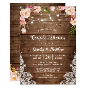 Rustic String Lights Lace Floral Couple's Shower Invitation starting at 2.45