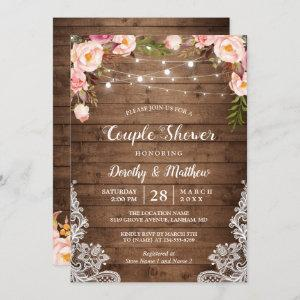 Rustic String Lights Lace Floral Couple's Shower Invitation starting at 2.35