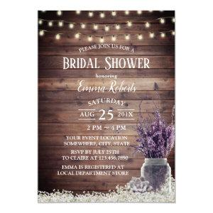 Rustic String Lights Lavender Floral Bridal Shower Invitation starting at 2.45
