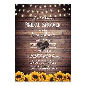Rustic String Lights Sunflowers Bridal Shower Invitation starting at 2.45