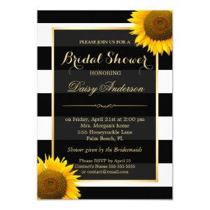 Rustic Sunflower Black White Stripes Bridal Shower Invitation starting at 2.30