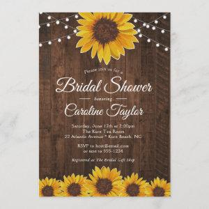Rustic Sunflower Bridal Shower with String Lights Invitation starting at 2.55