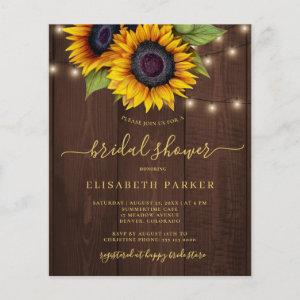 Rustic sunflower BUDGET bridal shower invitation starting at 0.61