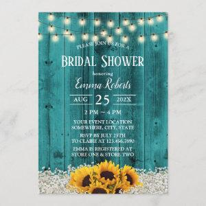 Rustic Sunflower Floral Teal Barn Bridal Shower Invitation starting at 2.40