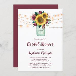 Rustic Sunflower Lights Mason Jar Bridal Shower Invitation starting at 2.40