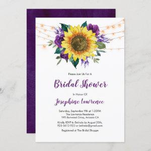 Rustic Sunflower Purple Floral Bridal Shower starting at 2.40