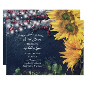 Rustic Sunflower, Slate and Lights Bridal Shower Invitation starting at 2.55