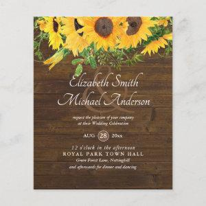Rustic Sunflower Themed Wedding Stationery Budget starting at 0.61