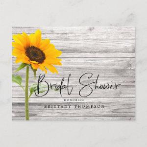 Rustic Sunflower Wood Bridal Shower Invitation Postcard starting at 1.75