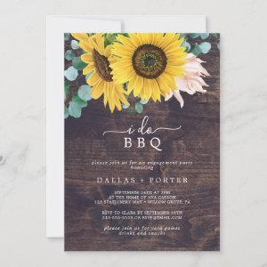 Rustic Sunflower | Wood I Do BBQ Engagement Party Invitation starting at 2.51