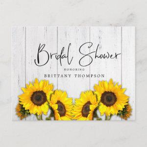 Rustic Sunflower Wood Texture Bridal Shower Invitation Postcard starting at 1.70