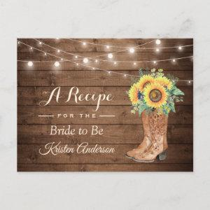Rustic Sunflowers Boots Bridal Shower Recipe Postcard starting at 1.15