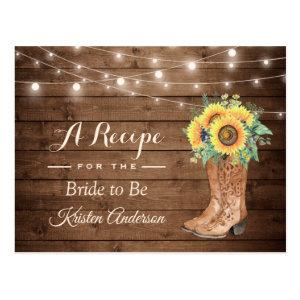 Rustic Sunflowers Boots Bridal Shower Recipe Postcard starting at 1.20