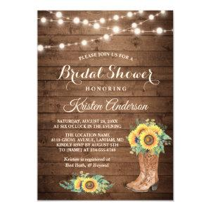 Rustic Sunflowers Boots Cowgirl Bridal Shower Invitation starting at 2.35