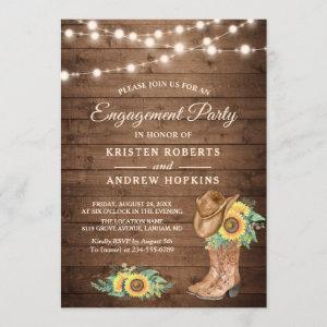 Rustic Sunflowers Boots Lights Engagement Party Invitation starting at 2.35