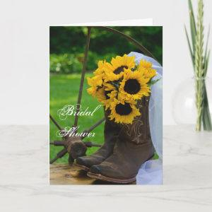 Rustic Sunflowers Boots Western Bridal Shower Invitation starting at 3.45