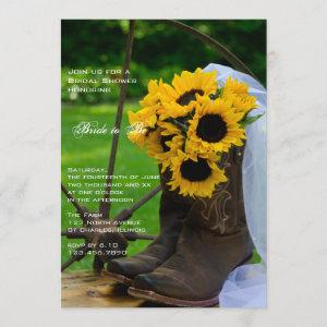 Rustic Sunflowers Cowboy Boots Ranch Bridal Shower Invitation starting at 2.60
