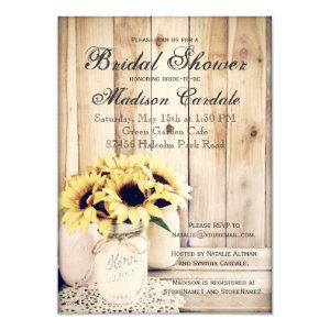 Rustic Sunflowers Mason Jar Bridal Shower Invites starting at 2.20