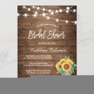 Rustic Sunflowers Mason Jar Lights Bridal Shower Invitation starting at 2.30