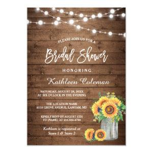 Rustic Sunflowers Mason Jar Lights Bridal Shower Invitation starting at 2.10