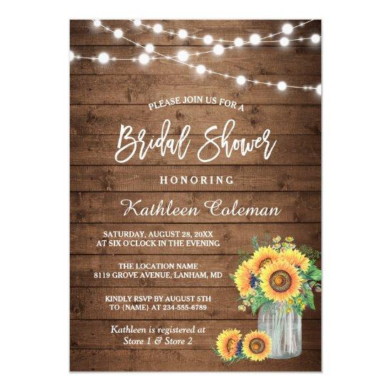 Rustic Sunflowers Mason Jar Lights Bridal Shower Invitation