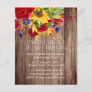 Rustic Sunflowers Red Roses Bridal Couples Shower starting at 0.61